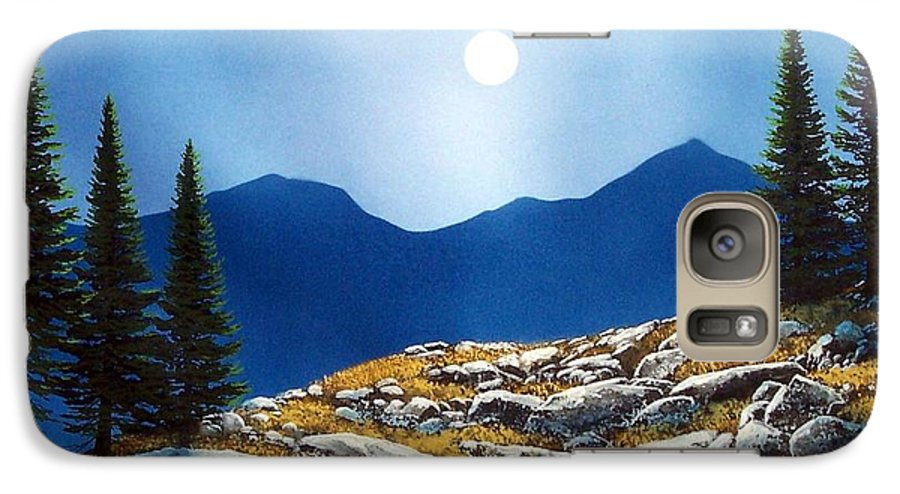 Landscape Galaxy S7 Case featuring the painting Autumn Moon by Frank Wilson