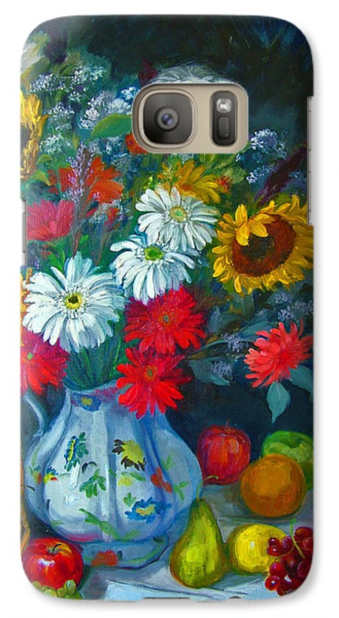 Fruit And Many Colored Flowers In Masson Ironstone Pitcher. A Large Still Life. Galaxy S7 Case featuring the painting Autumn Picnic by Nancy Paris Pruden