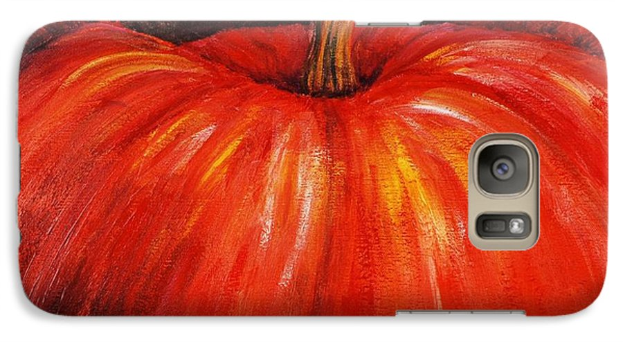 Orange Galaxy S7 Case featuring the painting Autumn Pumpkins by Nadine Rippelmeyer