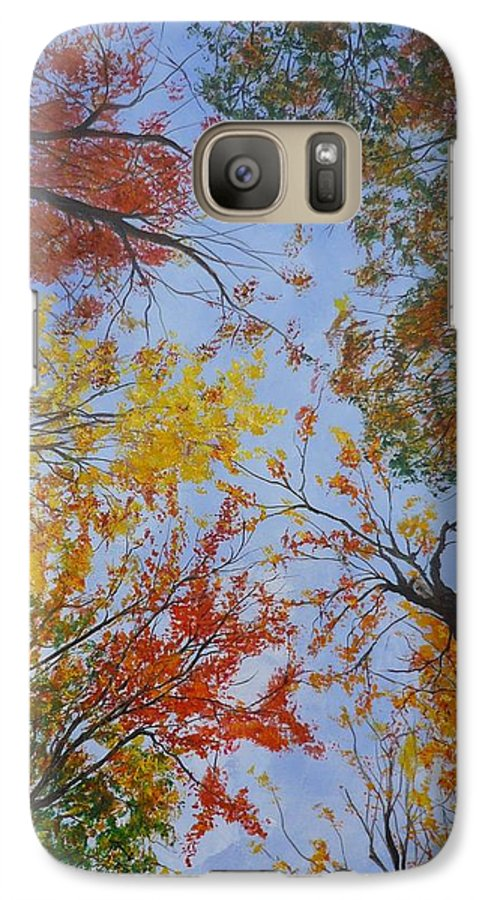 Tree Galaxy S7 Case featuring the painting Autumn Sky by Lizzy Forrester