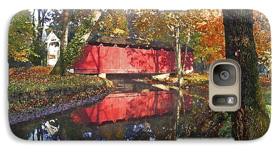 Covered Bridge Galaxy S7 Case featuring the photograph Autumn Sunrise Bridge by Margie Wildblood