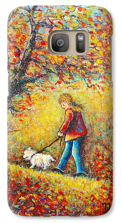 Landscape Galaxy S7 Case featuring the painting Autumn Walk by Natalie Holland