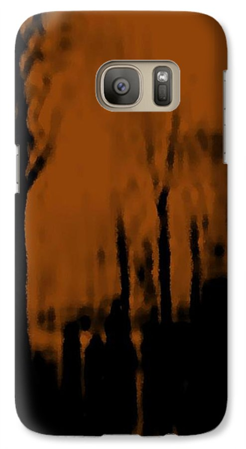Trees.street.rain.clouds.wet People.the Naked Branches Of The Trees.the Gloomy Light. Galaxy S7 Case featuring the digital art Autumn Wet Day by Dr Loifer Vladimir