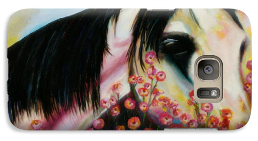 Horse Galaxy S7 Case featuring the painting Avalon's Rose by Sidra Myers