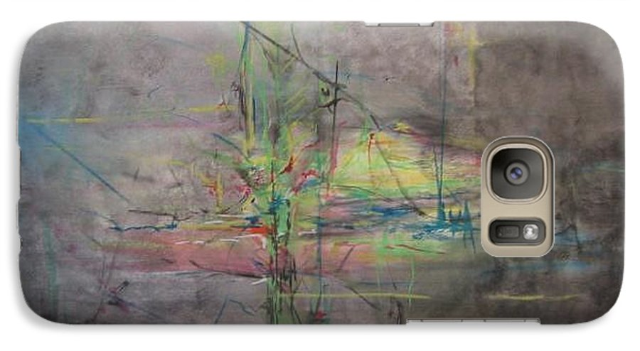 Abstract Galaxy S7 Case featuring the painting Awakening Abstract 1 Black Background Bright Detail by Lizzy Forrester