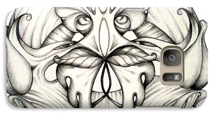 Mandala Galaxy S7 Case featuring the drawing Awakening by Shadia Derbyshire