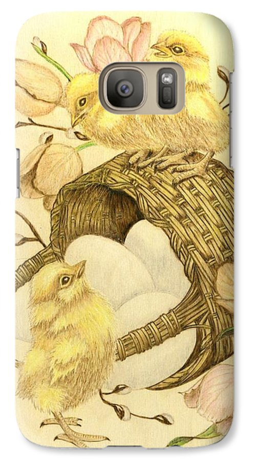 Chicks Galaxy S7 Case featuring the pyrography Baby Chicks by Danette Smith