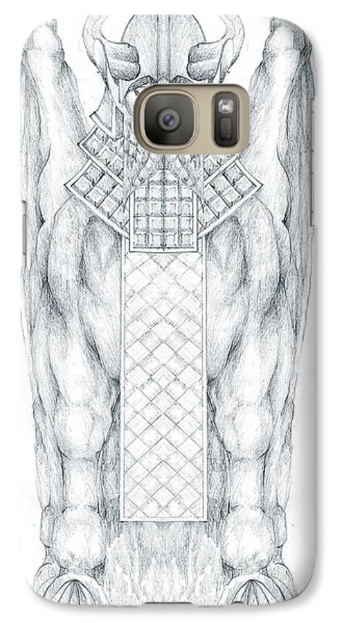 Babylonian Galaxy S7 Case featuring the drawing Babylonian Sphinx Lamassu by Curtiss Shaffer