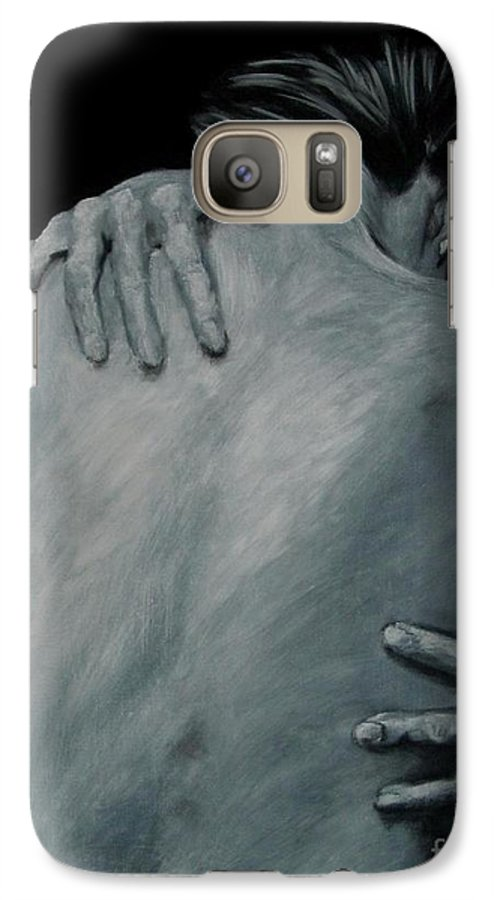 Nude Galaxy S7 Case featuring the painting Back Of Naked Woman by Jindra Noewi
