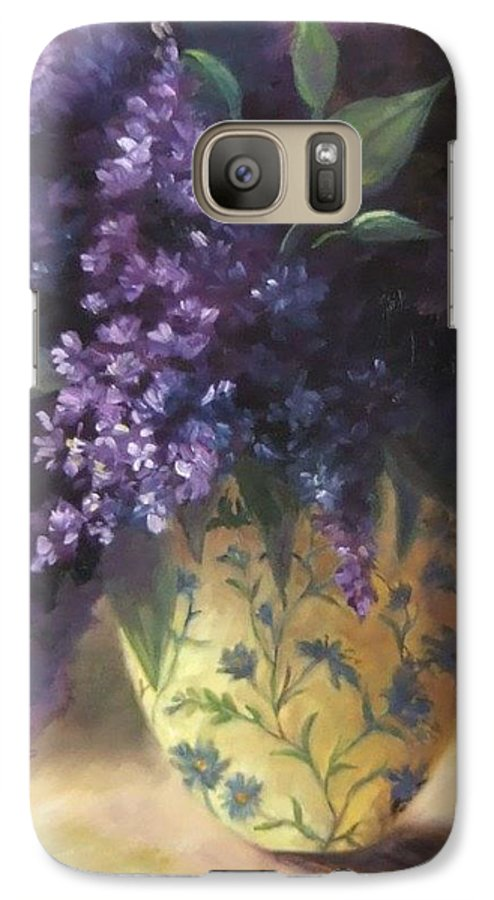 Lilac Still Life Galaxy S7 Case featuring the painting Backlit Bouquet by Ruth Stromswold