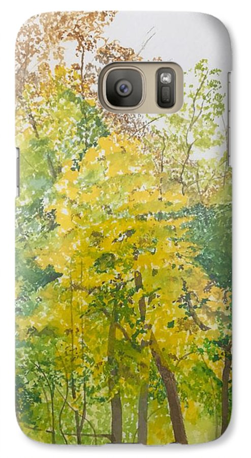 Autumn Galaxy S7 Case featuring the painting Backyard by Leah Tomaino
