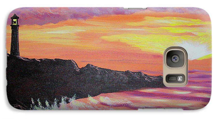 Seascape Galaxy S7 Case featuring the painting Bahia At Sunset by Marco Morales