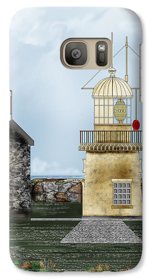 Lighthouse Galaxy S7 Case featuring the painting Ballinacourty Lighthouse At Waterford Ireland by Anne Norskog