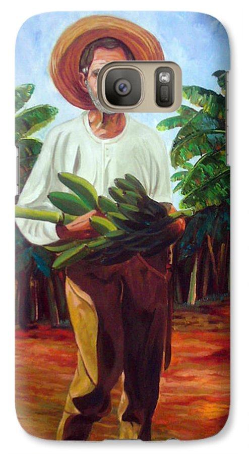 Cuban Art Galaxy S7 Case featuring the painting Banana Farmer by Jose Manuel Abraham