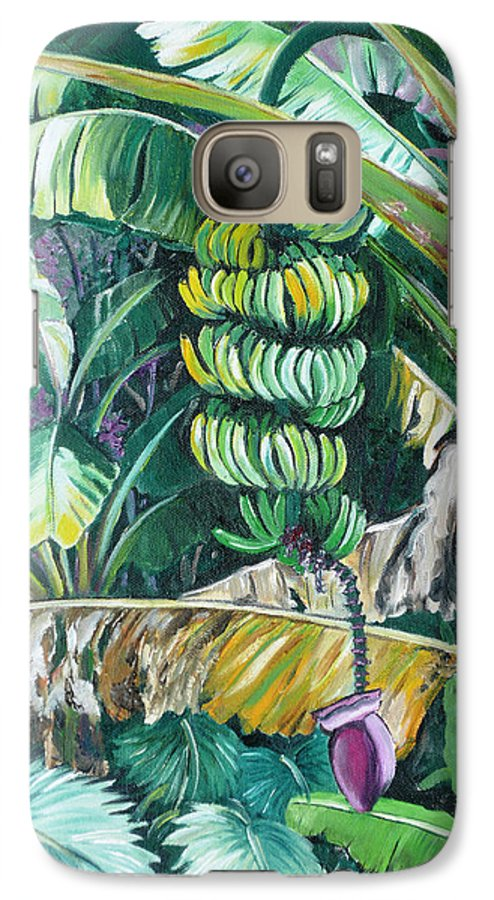 Caribbean Painting Bananas Trees P Painting Fruit Painting Tropical Painting Galaxy S7 Case featuring the painting Bananas by Karin Dawn Kelshall- Best