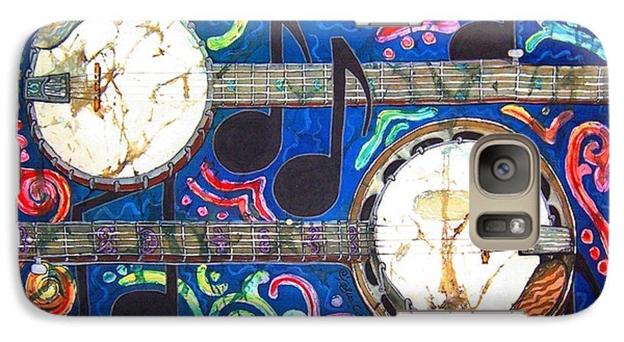 Banjo Galaxy S7 Case featuring the painting Banjos - Bordered by Sue Duda