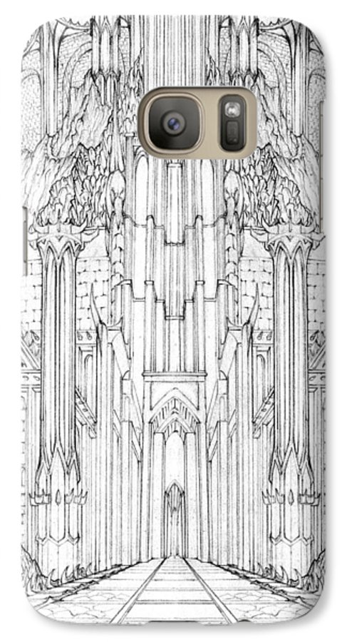 Barad-dur Galaxy S7 Case featuring the drawing Barad-dur Gate Study by Curtiss Shaffer