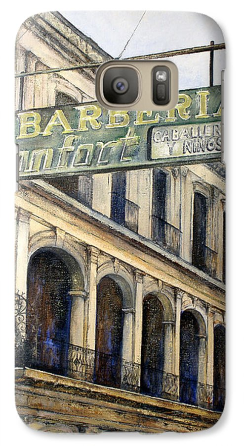 Konfort Barberia Old Havana Cuba Oil Painting Art Urban Cityscape Galaxy S7 Case featuring the painting Barberia Konfort by Tomas Castano
