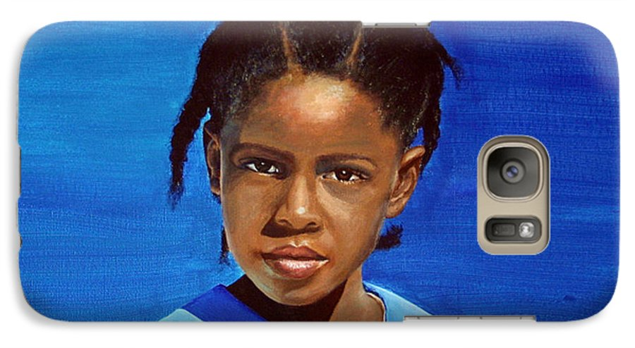 Portrait Galaxy S7 Case featuring the painting Barbuda School Girl by Fiona Jack