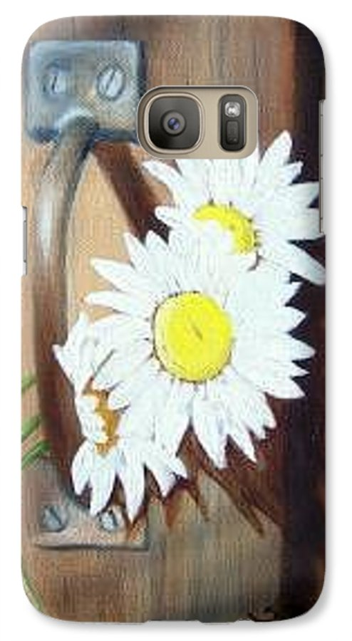 Rustic Barn Door With Metal Latch And Three White Daisies Galaxy S7 Case featuring the painting Barn Door Daisies Sold by Susan Dehlinger