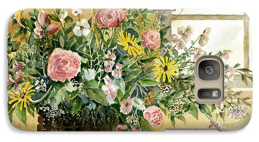 Basket Galaxy S7 Case featuring the painting Basket Bouquet by Arline Wagner