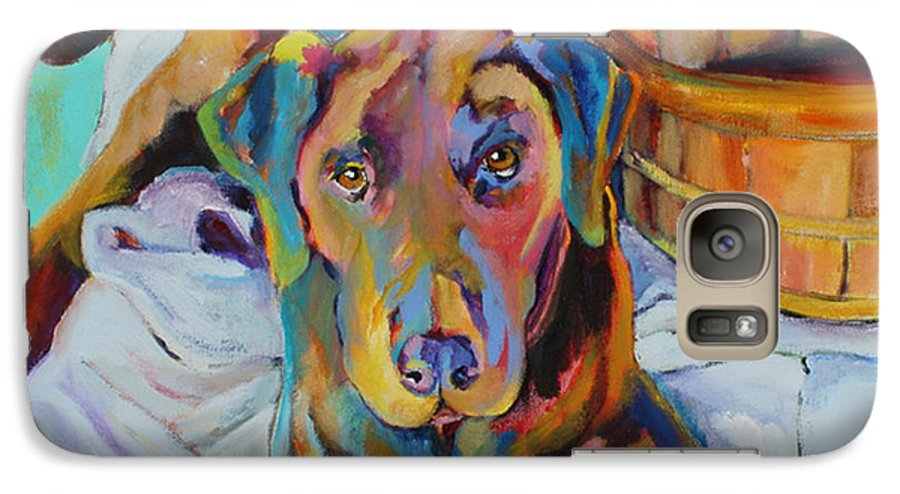 Chocolate Lab Galaxy S7 Case featuring the painting Basket Retriever by Pat Saunders-White