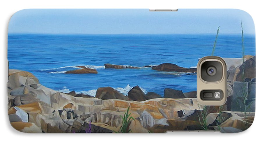 Seascape Galaxy S7 Case featuring the painting Bass Rocks Gloucester by Lea Novak