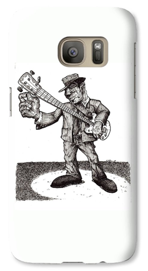 Blues Galaxy S7 Case featuring the drawing Bass by Tobey Anderson