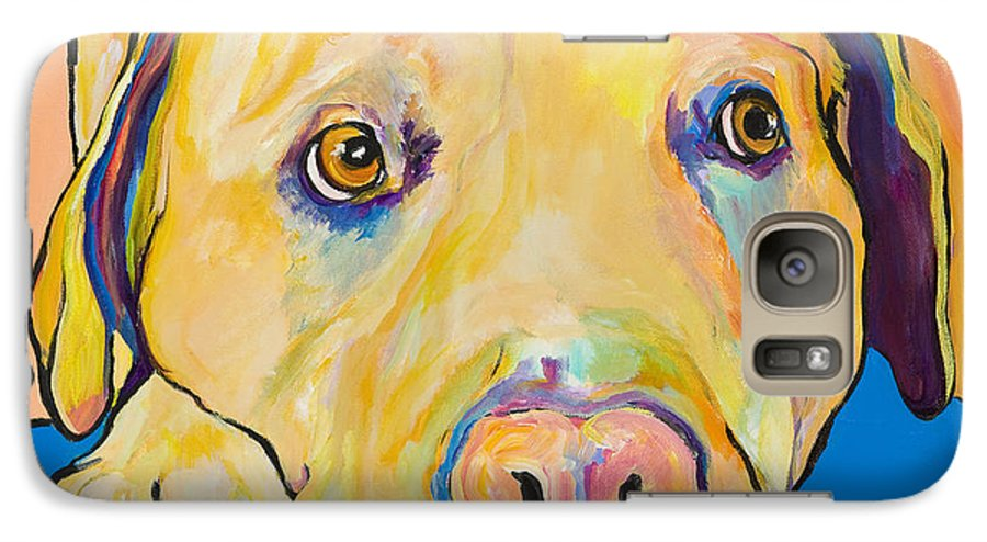 Dog Paintings Yellow Lab Puppy Colorful Animals Pets Galaxy S7 Case featuring the painting Bath Time by Pat Saunders-White