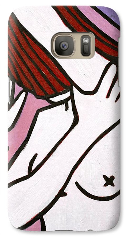 Nude Galaxy S7 Case featuring the painting Bather by Thomas Valentine