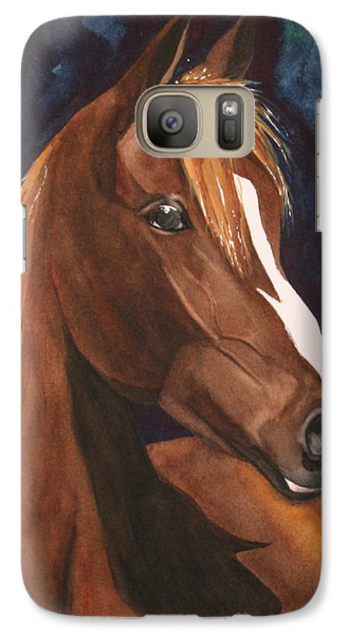 Horse Galaxy S7 Case featuring the painting Bay On Blue 2 by Jean Blackmer