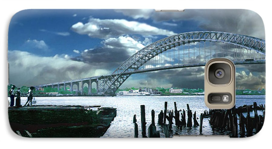Seascape Galaxy S7 Case featuring the photograph Bayonne Bridge by Steve Karol