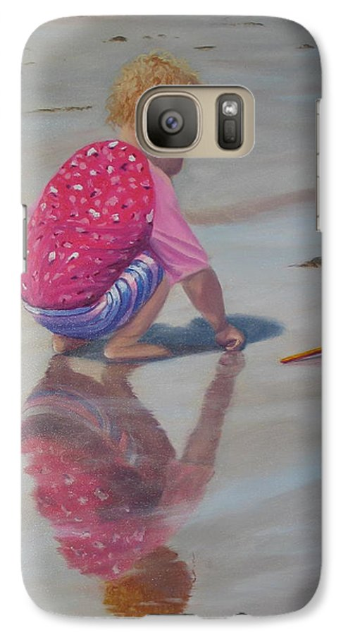 Baby Galaxy S7 Case featuring the painting Beach Baby by Lea Novak