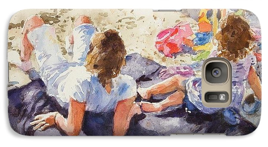 Beach Galaxy S7 Case featuring the painting Beach Blanket by Debra Jones