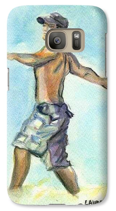 Man On Beach Galaxy S7 Case featuring the painting Beach Boy by Laura Rispoli