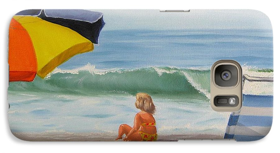 Seascape Galaxy S7 Case featuring the painting Beach Scene - Childhood by Lea Novak