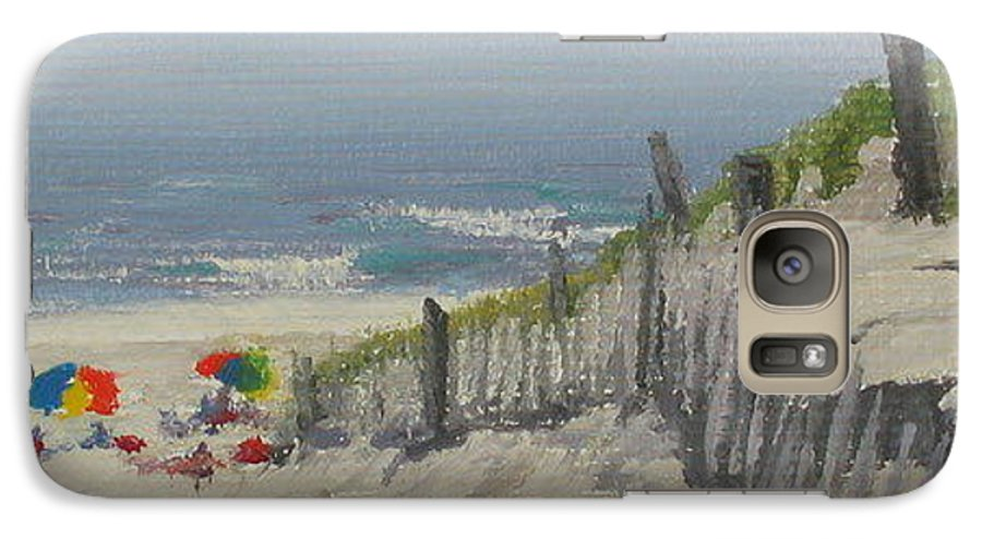 Beach Galaxy S7 Case featuring the painting Beach Scene Miniature by Lea Novak