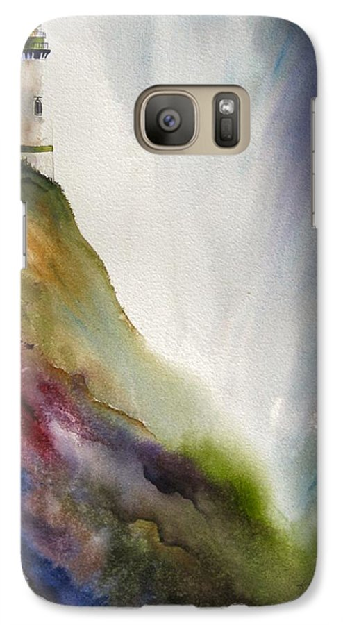 Lighthouse Galaxy S7 Case featuring the painting Beacon by Karen Stark