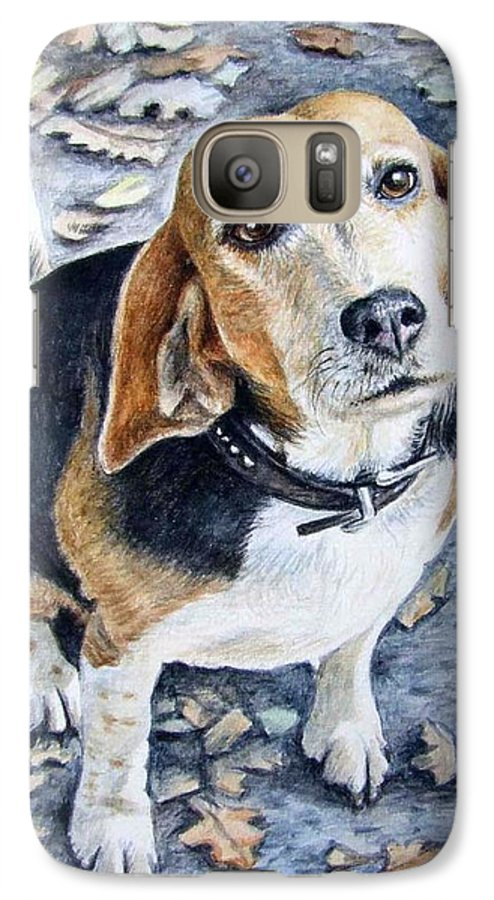 Dog Galaxy S7 Case featuring the painting Beagle Nanni by Nicole Zeug