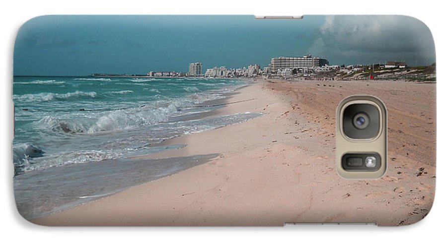 Beach Galaxy S7 Case featuring the digital art Beautiful Beach In Cancun, Mexico by Nicolas Gabriel Gonzalez