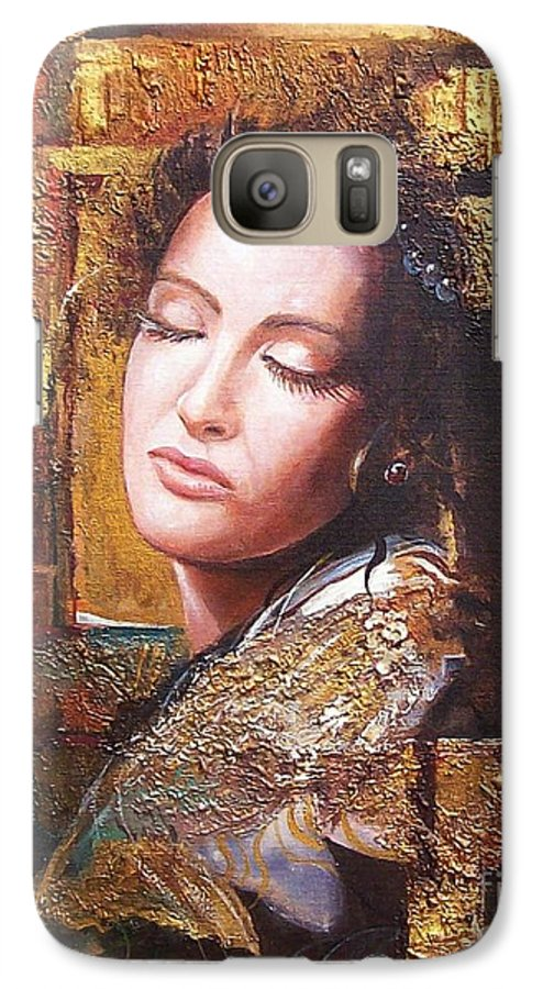 Female Portrait Galaxy S7 Case featuring the painting Because You Are Beautiful by Sinisa Saratlic