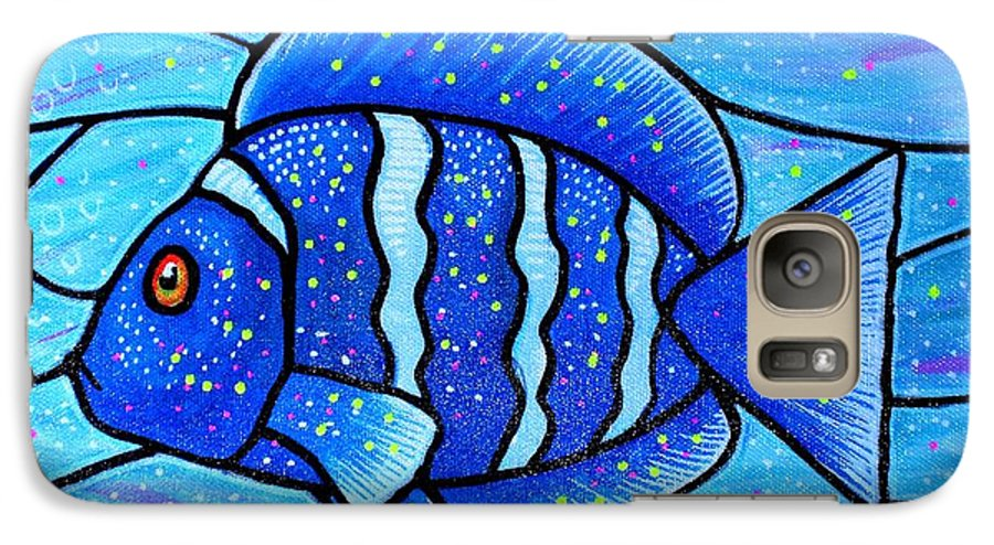 Tropical Fish Galaxy S7 Case featuring the painting Beckys Blue Tropical Fish by Jim Harris