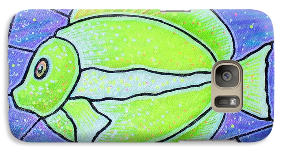 Tropical Fish Galaxy S7 Case featuring the painting Beckys Yellow Tropical Fish by Jim Harris