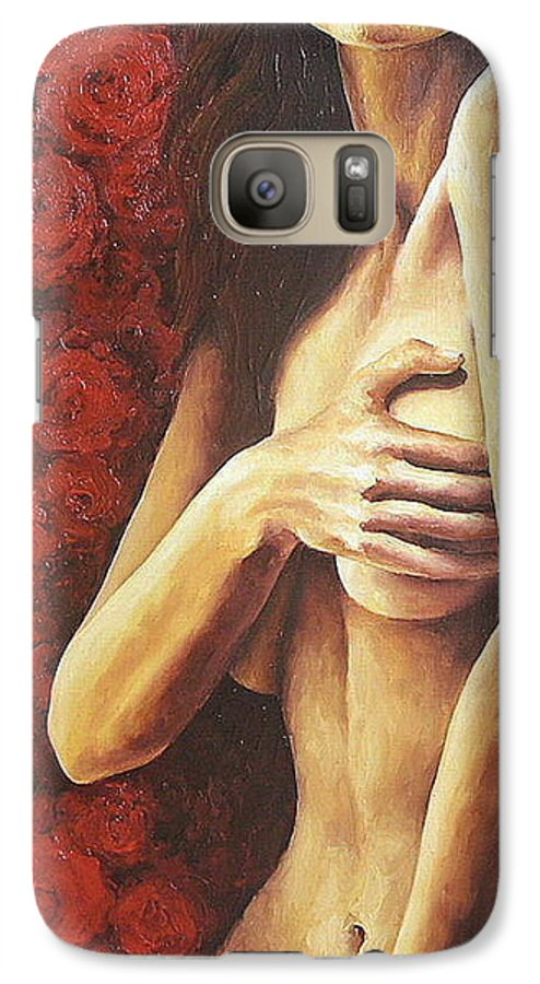 Nude Galaxy S7 Case featuring the painting Bed Of Roses 1 by Trisha Lambi