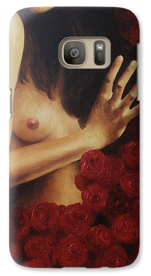Nude Galaxy S7 Case featuring the painting Bed Of Roses 3 by Trisha Lambi