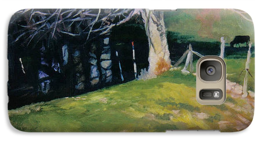 Landscape Galaxy S7 Case featuring the painting Behind The Leve by John L Campbell