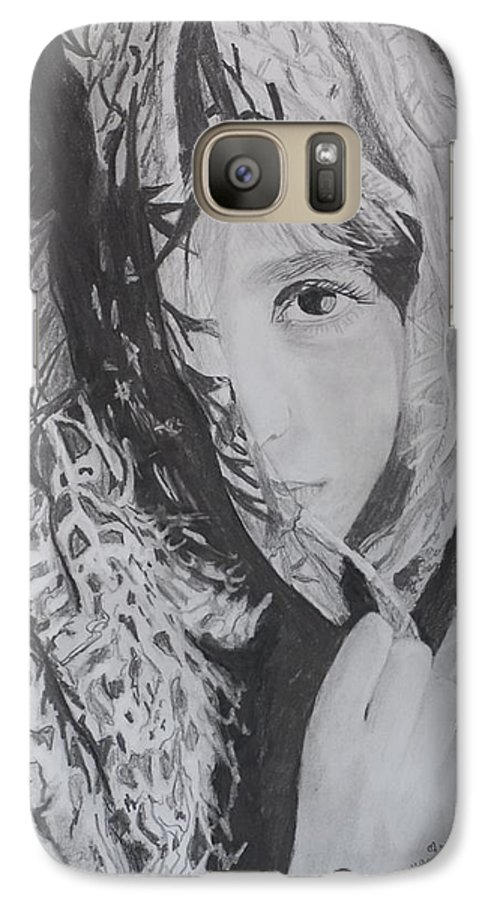 Graphite Galaxy S7 Case featuring the drawing Behind The Veil by Quwatha Valentine