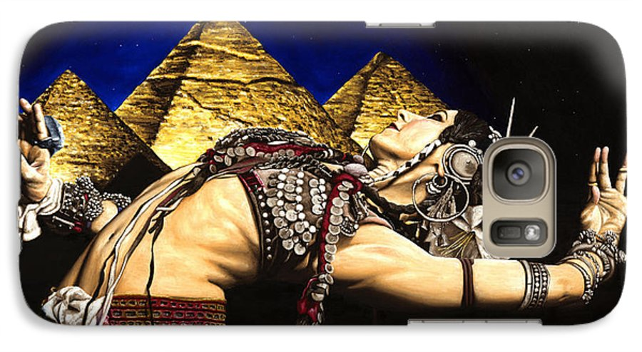 Bellydance Galaxy S7 Case featuring the painting Bellydance Of The Pyramids - Rachel Brice by Richard Young