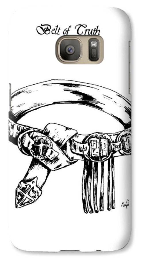 Bible Galaxy S7 Case featuring the drawing Belt Of Truth by Maryn Crawford