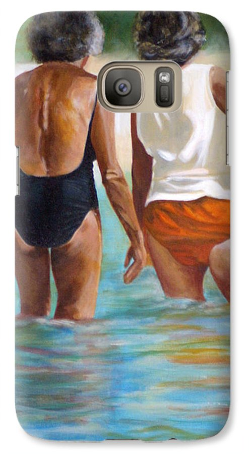 Friends Galaxy S7 Case featuring the painting Best Friends by Fiona Jack